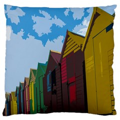 Brightly Colored Dressing Huts Large Cushion Case (two Sides) by Nexatart