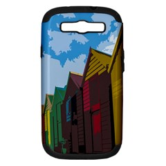 Brightly Colored Dressing Huts Samsung Galaxy S Iii Hardshell Case (pc+silicone) by Nexatart
