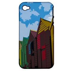 Brightly Colored Dressing Huts Apple Iphone 4/4s Hardshell Case (pc+silicone) by Nexatart