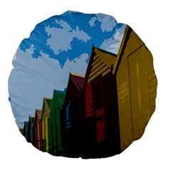 Brightly Colored Dressing Huts Large 18  Premium Round Cushions by Nexatart