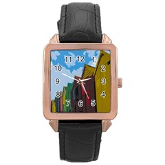 Brightly Colored Dressing Huts Rose Gold Leather Watch  by Nexatart