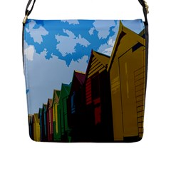 Brightly Colored Dressing Huts Flap Messenger Bag (l)  by Nexatart