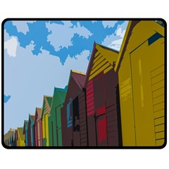 Brightly Colored Dressing Huts Double Sided Fleece Blanket (medium)  by Nexatart