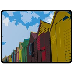Brightly Colored Dressing Huts Double Sided Fleece Blanket (large)  by Nexatart