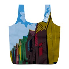 Brightly Colored Dressing Huts Full Print Recycle Bags (l)
