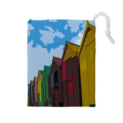 Brightly Colored Dressing Huts Drawstring Pouches (large)  by Nexatart