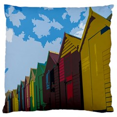 Brightly Colored Dressing Huts Large Flano Cushion Case (two Sides) by Nexatart