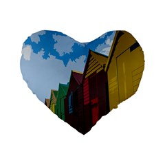 Brightly Colored Dressing Huts Standard 16  Premium Flano Heart Shape Cushions by Nexatart