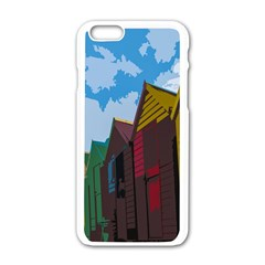Brightly Colored Dressing Huts Apple Iphone 6/6s White Enamel Case by Nexatart
