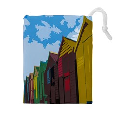 Brightly Colored Dressing Huts Drawstring Pouches (extra Large)