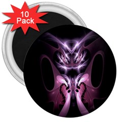 Angry Mantis Fractal In Shades Of Purple 3  Magnets (10 Pack)