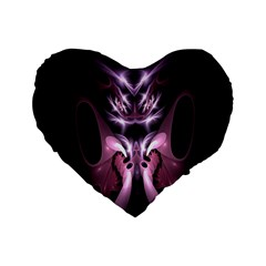 Angry Mantis Fractal In Shades Of Purple Standard 16  Premium Flano Heart Shape Cushions by Nexatart