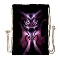 Angry Mantis Fractal In Shades Of Purple Drawstring Bag (large)