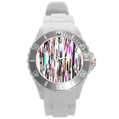 Randomized Colors Background Wallpaper Round Plastic Sport Watch (l) by Nexatart