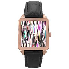 Randomized Colors Background Wallpaper Rose Gold Leather Watch  by Nexatart