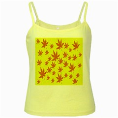 Autumn Background Yellow Spaghetti Tank
