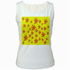 Autumn Background Women s White Tank Top
