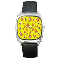 Autumn Background Square Metal Watch by Nexatart