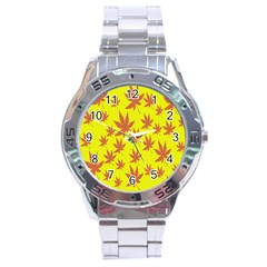 Autumn Background Stainless Steel Analogue Watch by Nexatart