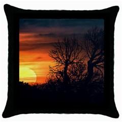 Sunset At Nature Landscape Throw Pillow Case (black) by dflcprints
