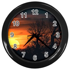 Sunset At Nature Landscape Wall Clocks (black) by dflcprints