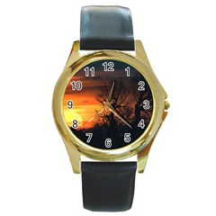 Sunset At Nature Landscape Round Gold Metal Watch by dflcprints