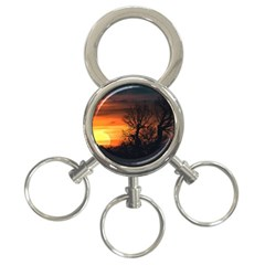 Sunset At Nature Landscape 3 Ring Key Chains by dflcprints
