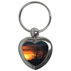 Sunset At Nature Landscape Key Chains (heart)  by dflcprints