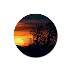 Sunset At Nature Landscape Rubber Coaster (round)  by dflcprints
