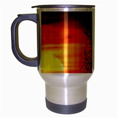 Sunset At Nature Landscape Travel Mug (silver Gray) by dflcprints