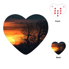 Sunset At Nature Landscape Playing Cards (heart)  by dflcprints