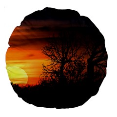 Sunset At Nature Landscape Large 18  Premium Round Cushions by dflcprints