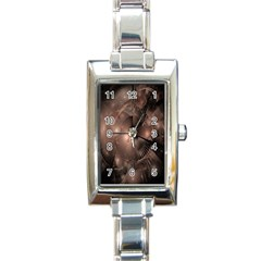 A Fractal Image In Shades Of Brown Rectangle Italian Charm Watch