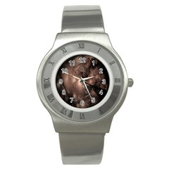 A Fractal Image In Shades Of Brown Stainless Steel Watch