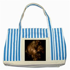 A Fractal Image In Shades Of Brown Striped Blue Tote Bag by Nexatart