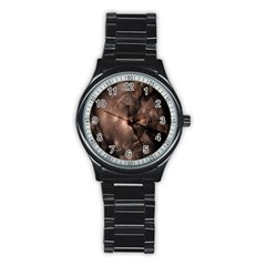 A Fractal Image In Shades Of Brown Stainless Steel Round Watch
