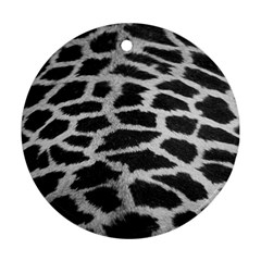 Black And White Giraffe Skin Pattern Ornament (round)