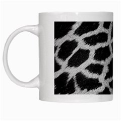 Black And White Giraffe Skin Pattern White Mugs by Nexatart