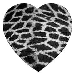 Black And White Giraffe Skin Pattern Jigsaw Puzzle (heart) by Nexatart