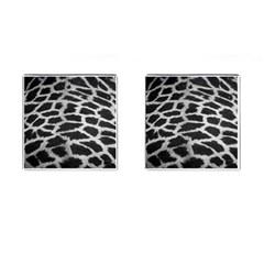 Black And White Giraffe Skin Pattern Cufflinks (square) by Nexatart