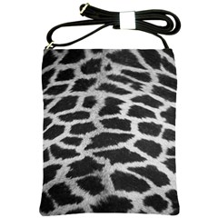 Black And White Giraffe Skin Pattern Shoulder Sling Bags by Nexatart