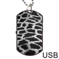 Black And White Giraffe Skin Pattern Dog Tag Usb Flash (two Sides) by Nexatart