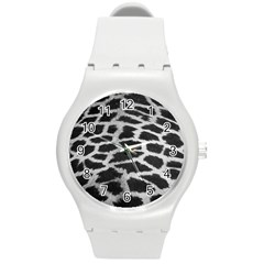 Black And White Giraffe Skin Pattern Round Plastic Sport Watch (m) by Nexatart