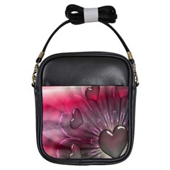 Love Hearth Background Wallpaper Girls Sling Bags by Nexatart