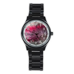 Love Hearth Background Wallpaper Stainless Steel Round Watch by Nexatart