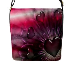 Love Hearth Background Wallpaper Flap Messenger Bag (l)  by Nexatart