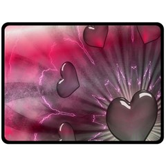 Love Hearth Background Wallpaper Double Sided Fleece Blanket (large)  by Nexatart
