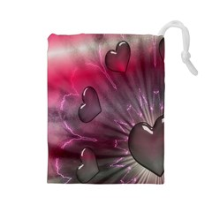 Love Hearth Background Wallpaper Drawstring Pouches (large)