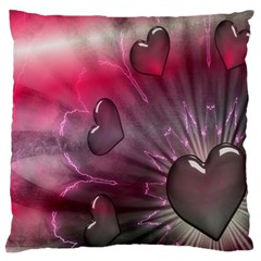 Love Hearth Background Wallpaper Large Flano Cushion Case (two Sides) by Nexatart