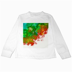 Digitally Painted Messy Paint Background Textur Kids Long Sleeve T Shirts